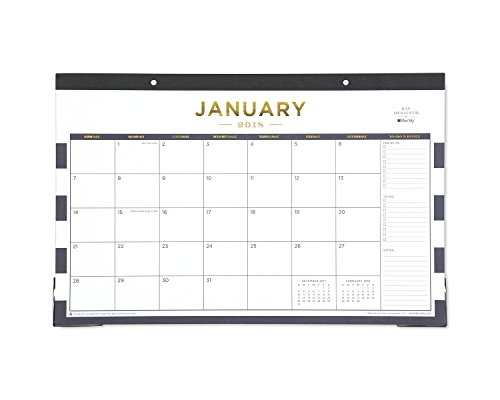 "Day Designer for Blue Sky 2018 Monthly Desk Pad Calendar, 17"" x 11"", Navy Stripe"