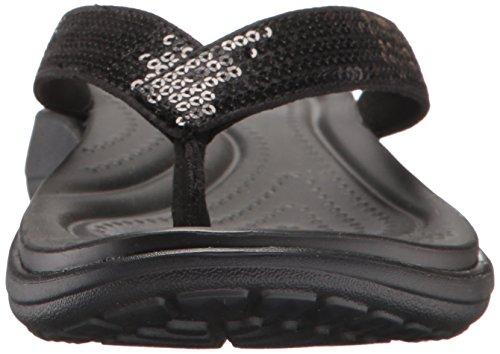 Para flop Mujer W Flip Crocs Capri Sequin Sandalias V Negro black xqqY0wOA