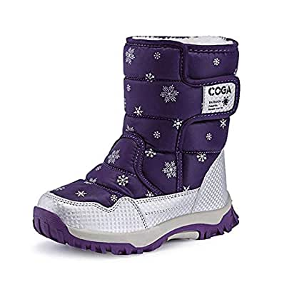 MARITONY Kid's Snow Boots for Girls and Boys, Warm Cozy Waterproof Winter Safety Glitter Puffer Shoes Purple