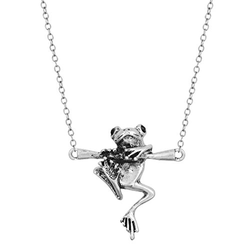 CHUYUN Baby Frog on Branch Animal Pendant Charm Necklace Jewelry -
