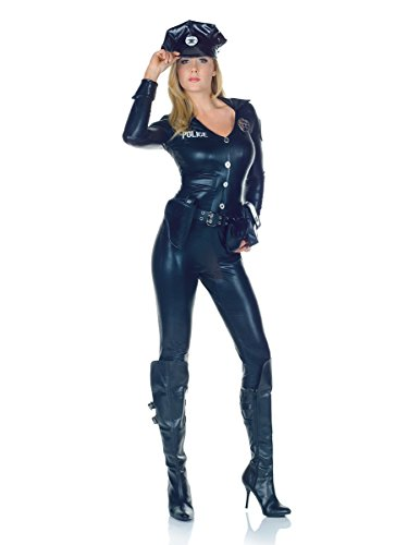 Sultry Swat Officer Adult Womens Costumes (Underwraps Women's Siren, Black, Large)