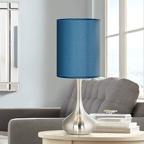 (Modern Accent Table Lamp Brushed Steel Metal Droplet Blue Faux Silk Cylinder Shade for Living Room Family - Possini Euro Design )