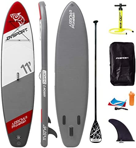 GOSHENG DVSPORT 10 Inflatable Stand up Paddle Board SUP Package Include Adjustable Paddle, Pump, Repair Kit and Backpack 5 Thick, 32 Stable Wide Stance, 264lbs High Capacity w Bottom Fin