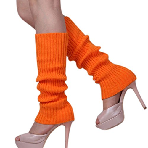 Warmers Acrylic Leg (Shuohu Women Knit Winter Leg Warmers Stocking High Knee Legging Boot Socks - Orange)