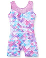 Leotards for Girls Gymnastics Unicorn Athletic Dance Wear Shiny Rainbow Blue Hotpink