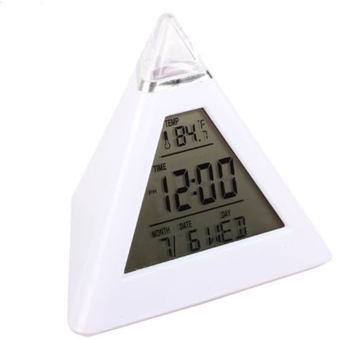 GreatFun Pyramid Temperature 7 Colors LED Change Backlight LED Moon Alarm Clock
