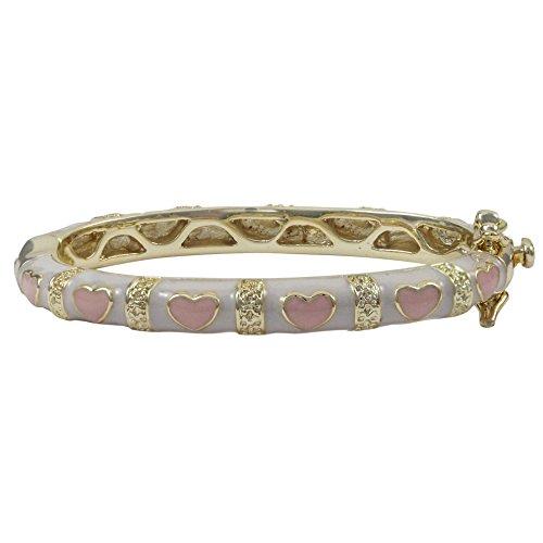(Ivy and Max Gold Finish White Enamel Pink Hearts Baby Girl Bangle Bracelet)