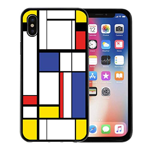Semtomn Phone Case for Apple iPhone Xs case,Blue Pattern Abstract Modern Painting in Mondrian Colorful Bauhaus Geometric for iPhone X Case,Rubber Border Protective Case,Black