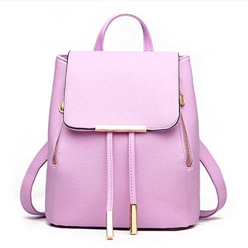 Mochila de cuero pu Bagpack Mujer Mochilas Mochila mochilas escolares Violeta