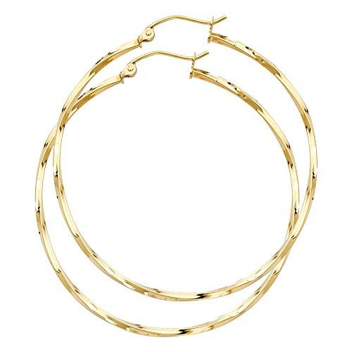 14k Yellow Gold 1.5mm Thickness Fancy Twisted Hoop Earrings (45 x 45 -