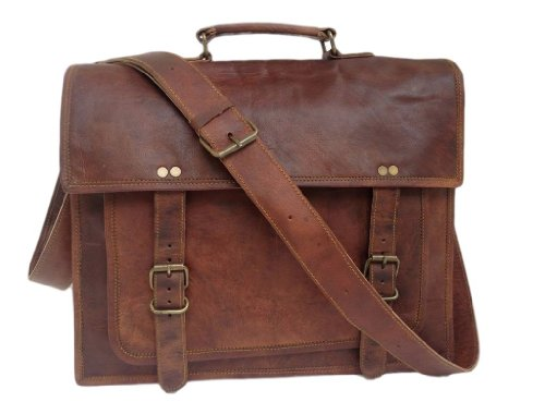 "True Grit Leather-""Michigan"" Laptop Messenger in cuoio intrecciato Borsa a tracolla marrone 35,5 cm"