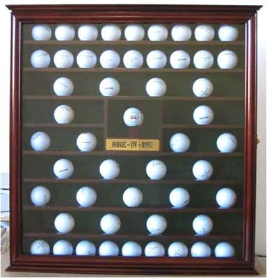 76 Golf Ball Holder Display Case Cabinet with Hole-in-One Plaque (Mahogany)