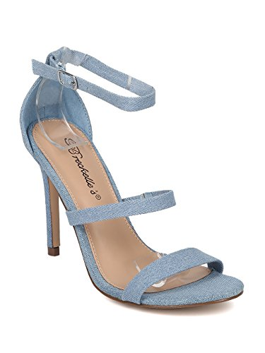 Breckelle's Women Denim Triple Strap Stiletto Sandal HB00 - Blue Denim (Size: 8.0) ()