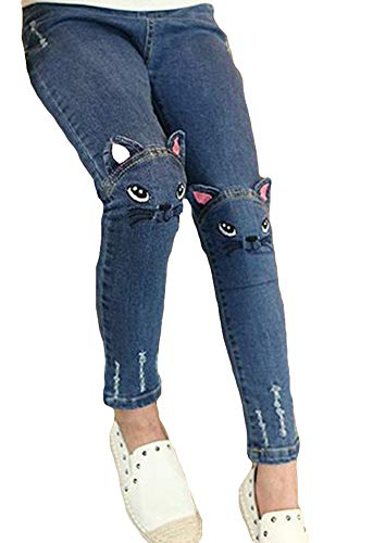 Girl's Ripped Jeans,Skinny Jeans Cute Cat Denim Pants Disstressed Jean for Teen Girls,Cat,Tag Size 9=14-15Y ()