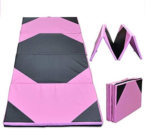 折りたたみ式 体操マット 94.49x47.24x1.97インチ体操パネル折りたたみジムパッドエクササイズヨガタンブリングフィットネスマット トレーニングマット (Color : Pink, Size : 240x120x5cm)