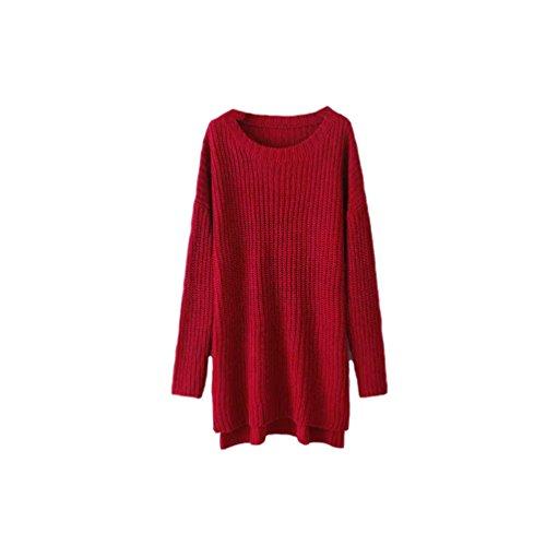 Maglione Vino Donna Inverno Maglia Girocollo Orlare Lungo Pipistrello Caldo Sweatshirt Vestito Diviso Sciolto Lato Casuale Rosso Manica Camicie Colore Solido Oversize r1Hzqrw