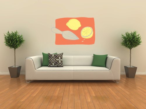 Horizontal Wall Decals Lemons and a Citrus Reamer - 24 inches x 15 inches - Peel and Stick Removable Graphic