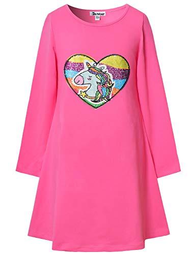 Unicorn Sequin Dress Girls Rainbow Reversible Pink Cotton Outfits Long - Kids Reversible Dress