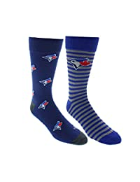Sporticus Men's MLB Toronto Blue Jays 2-Pack Dress Socks