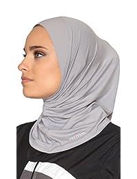 Artizara One Piece Stretch Sports Hijab, Athletic Hijab, Workout Hijab for Modest Islamic Hijabi Gym Workout - Grey