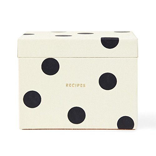 Kate Spade New York Recipe Box, Deco Dot, , Black/Crm (Recipe Cards Box And)