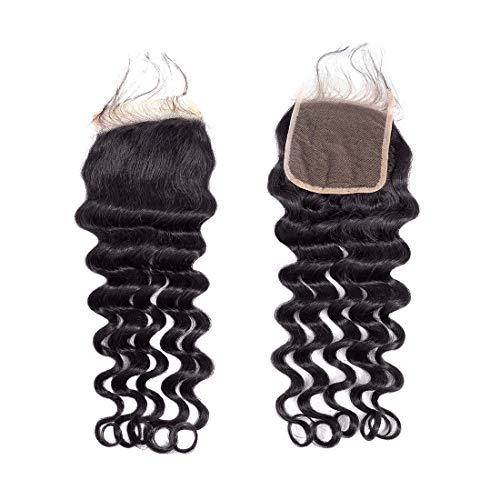 BLY Brazilian Virgin Loose Deep Wave Human Hair 4x4inch Lace Closure 10 Inch Unprocessed Remy Mink Loose Curly Hair Natural Color ()