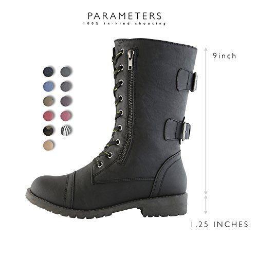 Black High Upgraded Combat Mid Pocket Knee Buckle Military PU Exclusive Credit Premium Up Boots Women's Card BxpZwp