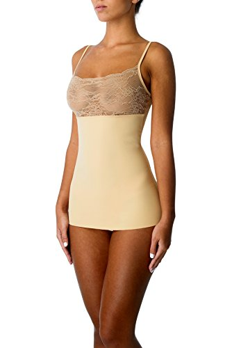 ami Tank Top with Lace Seamless Tummy Firm Control Shapewear for Women(Small,Nude) ()