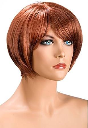 World Wigs Perruque Rousse Carre Court Frange Amazon Fr Beaute Et Parfum