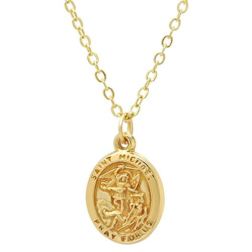 (Pori Jewelers 14K Solid Gold Religious Medallion Pendant -14K DC Cable Chain (Oval St Michael))