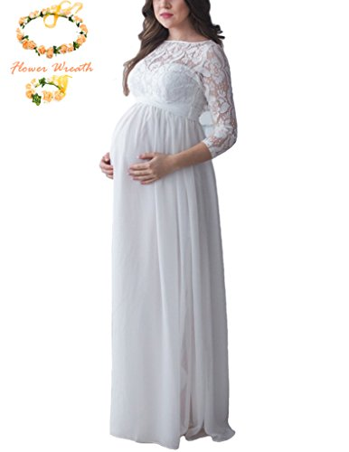 Maternity Brides Dresses (SICILY Maternity Photography Props Dress Scoop 3/4 Sleeves Lace Chiffon Patchwork Wedding Bride Bridesmaids Gown For Photo Shoot (M, White))