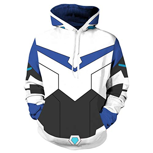 Hot Anime Cartoon Cosplay Keith Lance Hoodie 3D Printed Pidge Zipper Hooded Sweatshirt Jacket Halloween Costumes (XL, Blue (No Zipper))