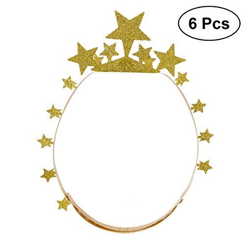 BESTOYARD 6pcs Birthday Crown Hats Glitter Star Party Paper Hats DIY Craft Hat for Kids Adults (Golden) -