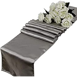 mds Pack of 10 Wedding 12 x 108 inch Satin Table Runner for Wedding Banquet Decoration- Silver Gray