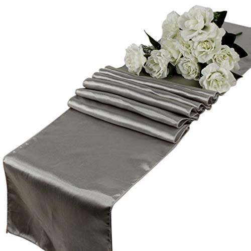 mds Pack of 10 Wedding 12 x 108 inch Satin Table Runner for Wedding Banquet Decoration- Silver -