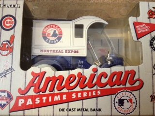 American Pastime Series Die Cast Metal Bank  Montreal Expos Has Certificate Of Authenticity