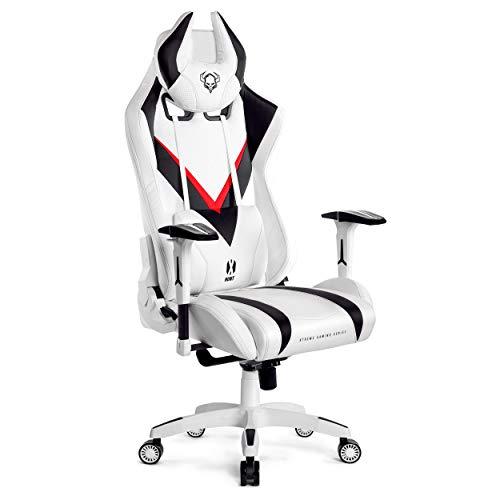 Diablo X-Hunt Silla Gaming Silla de Oficina Diseno Ergonomico Apoyabrazos Ajustables Almohada Lumbar y Cuello Perforacion Cuero Sintetico Funcion de Inclinacion (Blanco-Negro, XL)