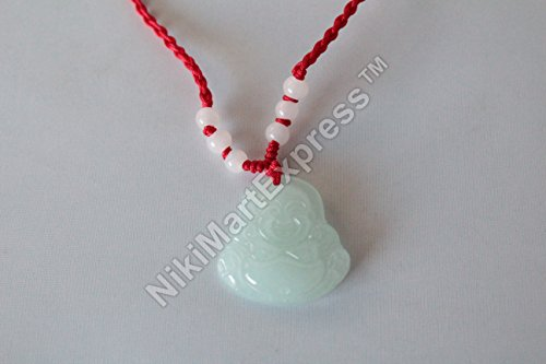 Chinese Nature Jade Stone Carved Laughing Happy Buddha NeckLace Lucky Wealth Health Feng Shui Protection Car Door Hanging Charm