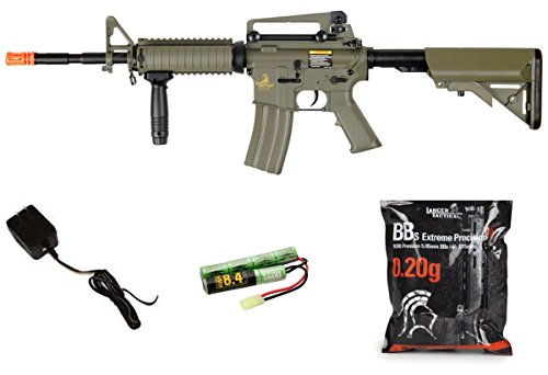 Lancer Tactical M4A1 AEG Metal Gears Raider w/ BATTERY & CHARGER - TAN -