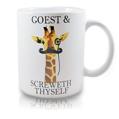 HIPSTER GIRAFFE Novelty Ceramic Coffee Mug, Funny Giraffe Mug, Perfect Coffee Mug Gift