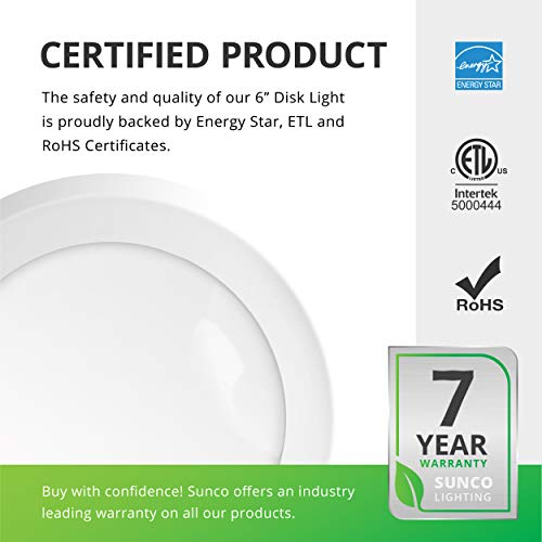 Sunco Lighting 24 Pack 5 Inch / 6 Inch Flush Mount Disk LED Downlight, 15W=100W, 2700K Soft White, 1050LM, Dimmable, Hardwire 4/6'' Junction Box, Recessed Retrofit Ceiling Fixture by Sunco Lighting (Image #6)
