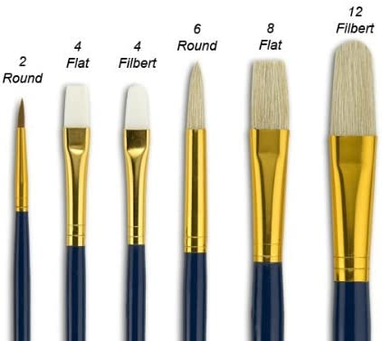 Artist Paint Brush Set 12pc Round Tipped 1-12 Art Decorating Acrylic Paint
