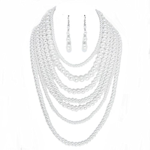 Realities Women's Beaded Layered Strands Cream Pearl Beads Long Silver Chain Necklace Earrings Set ()