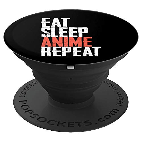 Anime Japanese Animation Eat Sleep Black White - PopSockets Grip and Stand for Phones and Tablets by Funny Angle Pops