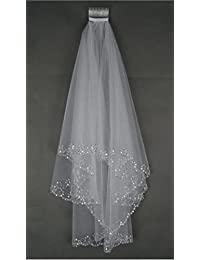 Elbow Beaded Edge Pearl Sequins Wedding Bridal Veil With Comb