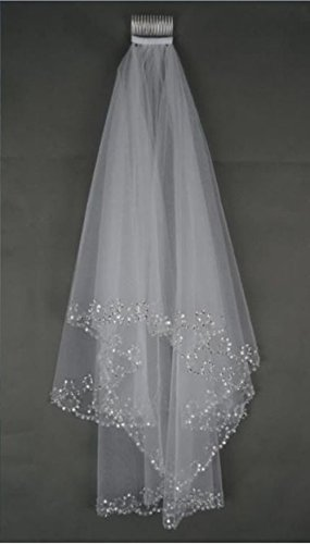 MLT Elbow Beaded Edge Pearl Sequins Wedding Bridal Veil with Comb (White)
