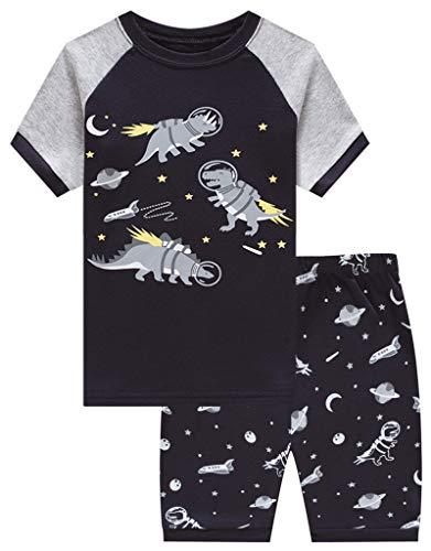 (Family Feeling Dinosaur Astronaut Little Boys Short Sleeve Pajamas 100% Cotton Pjs Toddler Sleepwears Size 4T)