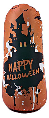 BONK FIT High Performance Polyurethane Kids Inflatable Punching Bag Bop Toy PVC-Free with Machine Washable Designer Cover - Haunted -