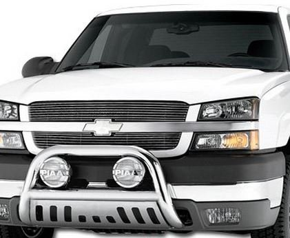 Chrome HAMMERED Stainless Steel Bull Bar Brush Bumper Grille Guard Chevy Silverado GMC Sierra