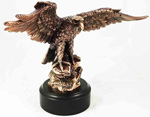 Figurine Wings of Glory Bald Eagle Perching On Rock Bronze Electroplated 8